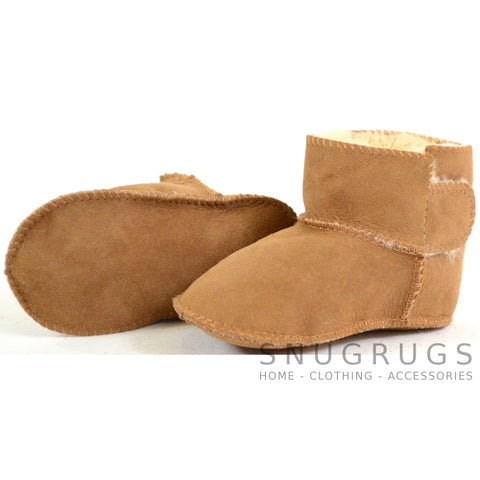 Baby Full Sheepskin Booties - Chestnut