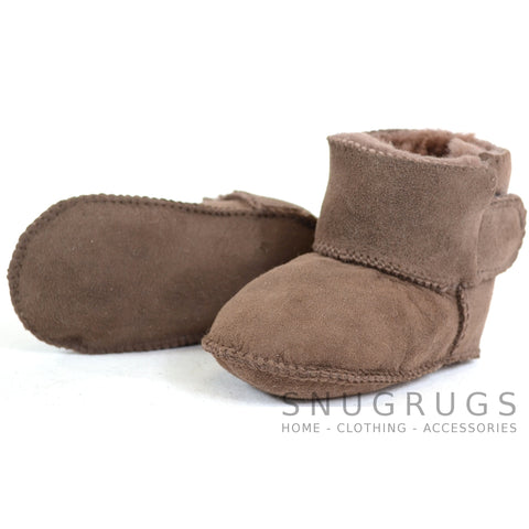 Baby Full Sheepskin Booties - Chocolate