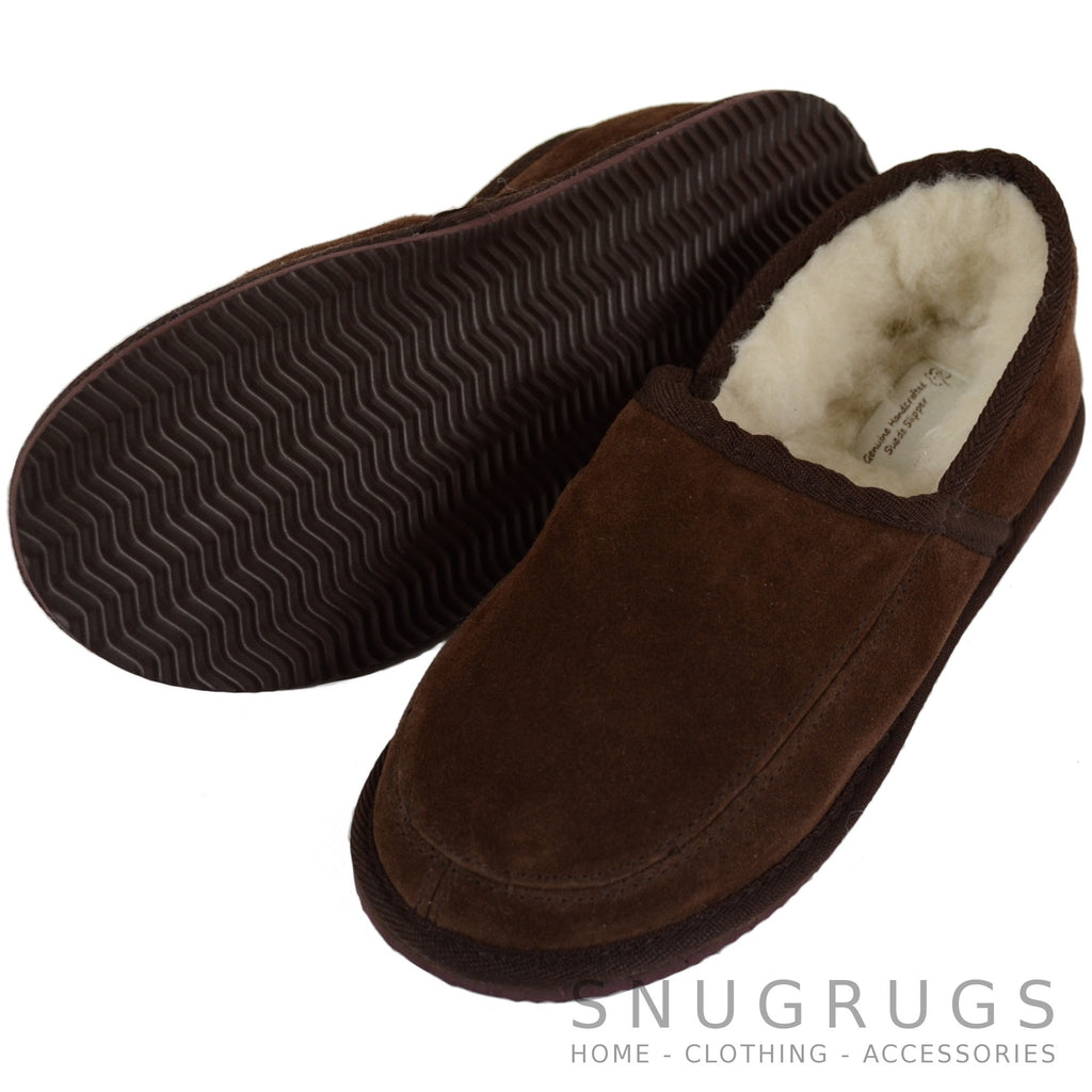 Laurie - Wool Lined Slippers with Hard Sole - Brown