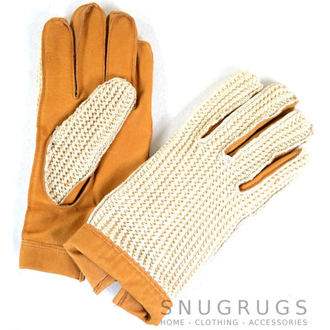 Mens Leather Driving Gloves - Tan
