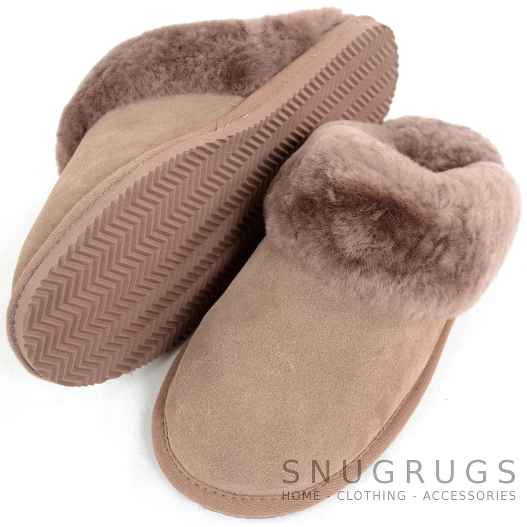 Elsie - Sheepskin Mule Slipper with Cuff - Mink