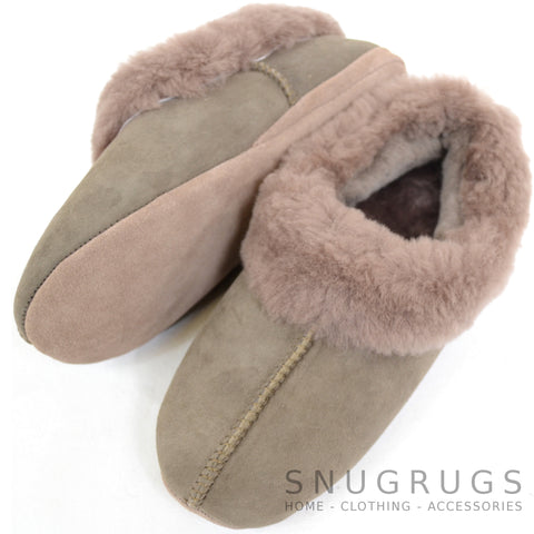Cassie - Luxury Sheepskin Slipper Boot - Vole