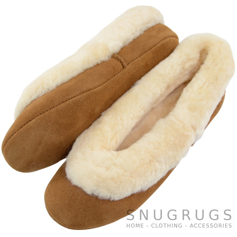 Elena - Sheepskin Ballerina Slippers - Chestnut
