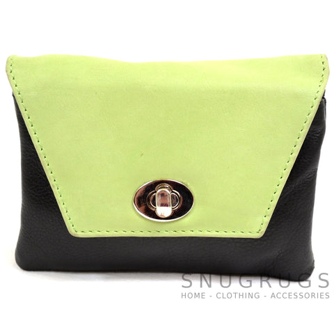 Elise - Soft Leather Coin / Credit Card Purse - Green