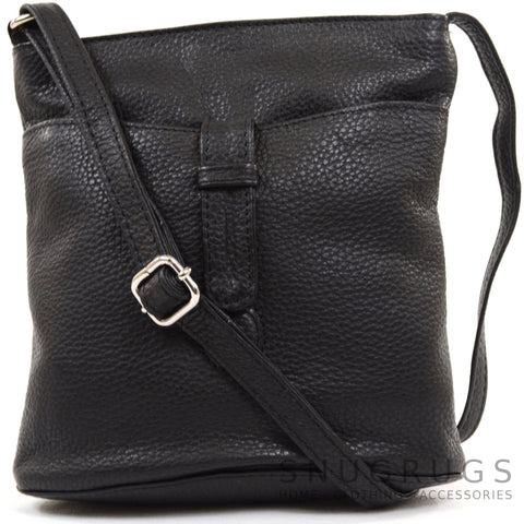 Faye - Leather Cross Body / Shoulder Bag - Black