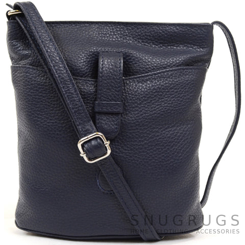 Faye - Leather Cross Body / Shoulder Bag - Navy