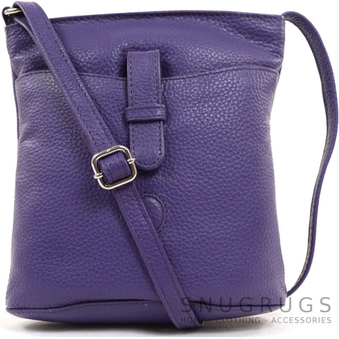 Faye - Leather Cross Body / Shoulder Bag - Purple