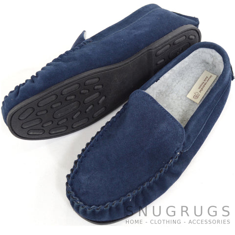 Berber Fleece Lined Suede Moccasin and Rubber Sole - Navy