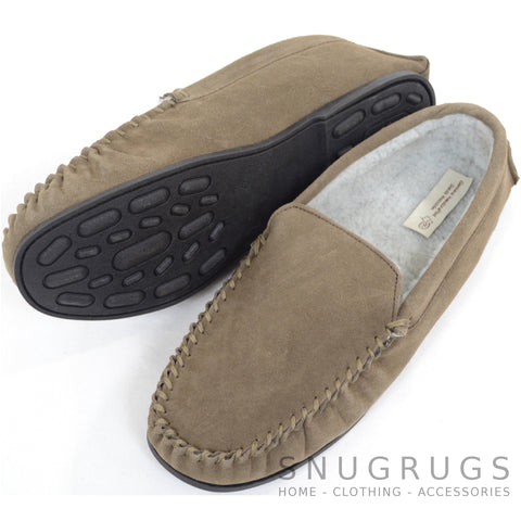 Berber Fleece Lined Suede Moccasin and Rubber Sole - Taupe