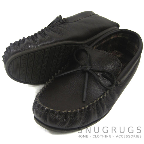 Leather Moccasins with Tartan Cotton Lining and Rubber Sole