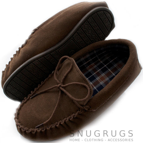 Suede Moccasins with Cotton Lining and Rubber Sole