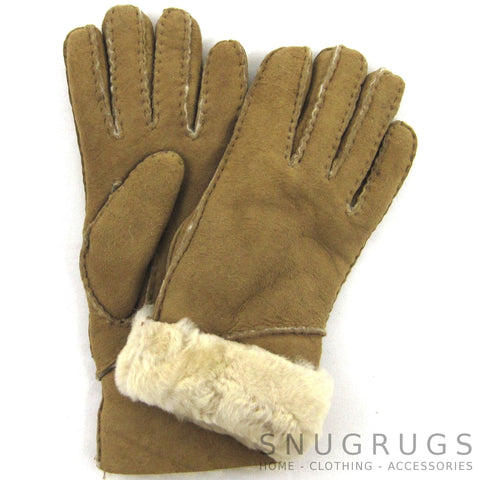 Vicky - Full Sheepskin Glove with Long Fold Back Cuff - Spice
