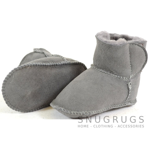 Baby Full Sheepskin Booties - Grey