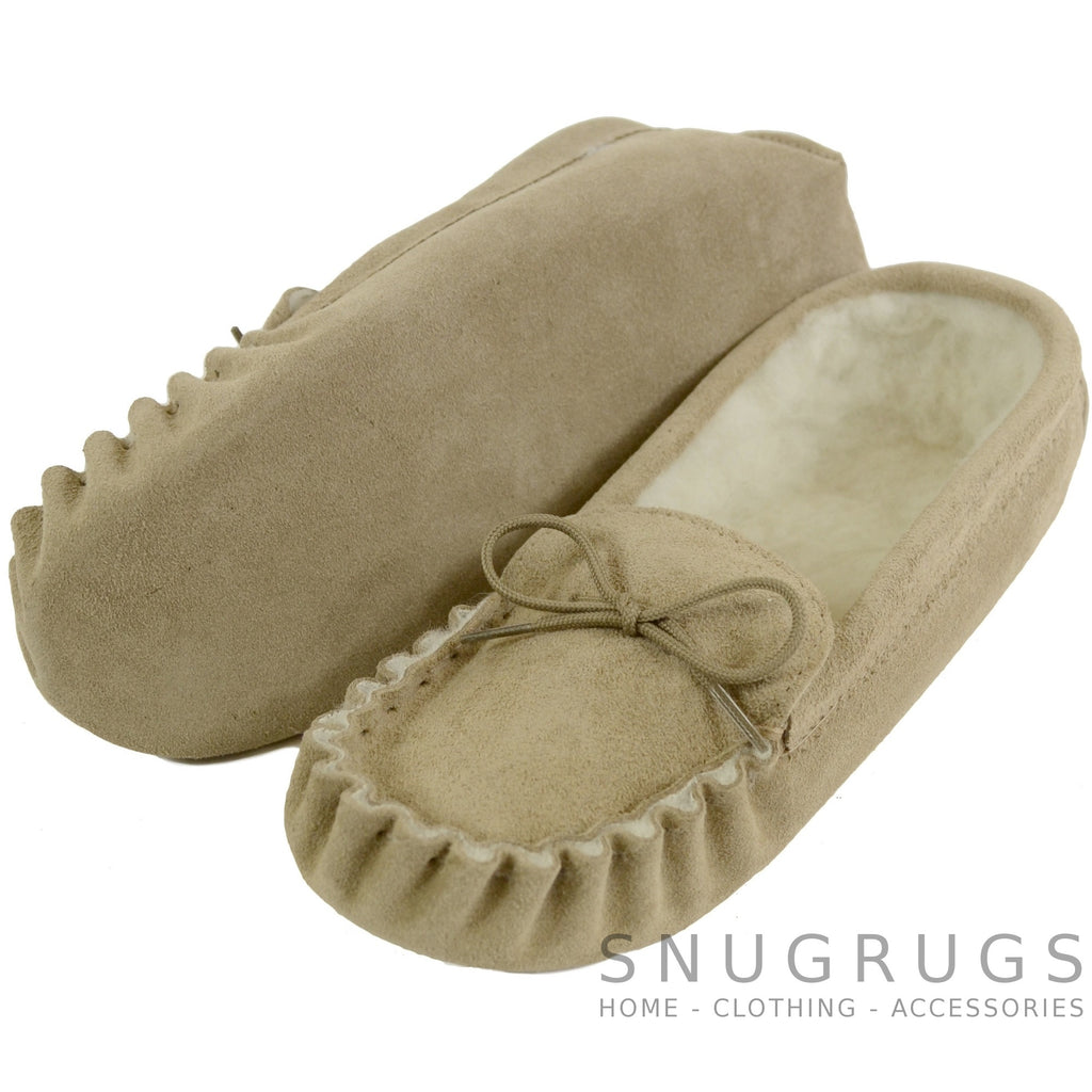 Moccasin Slipper with Suede Sole - Beige