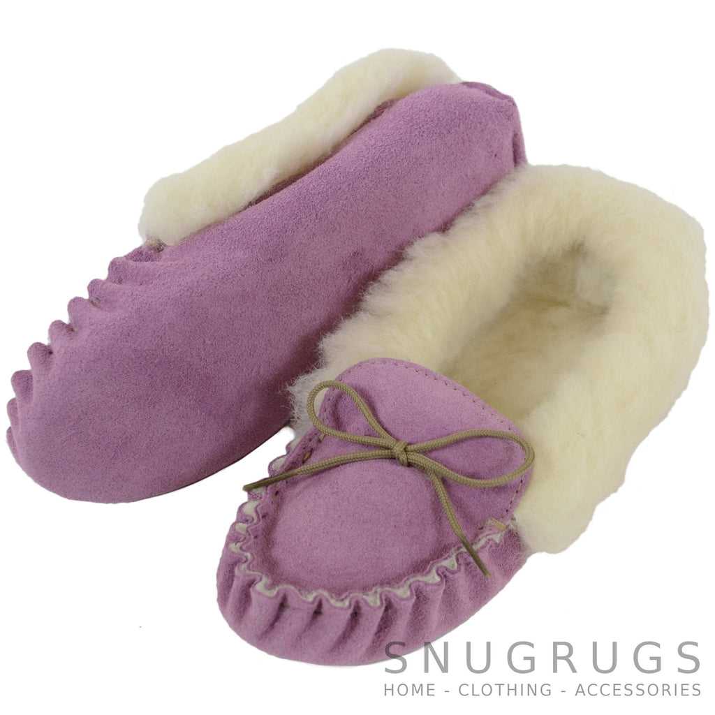 Wool Lined Suede Moccasin with Soft Sole - Purple