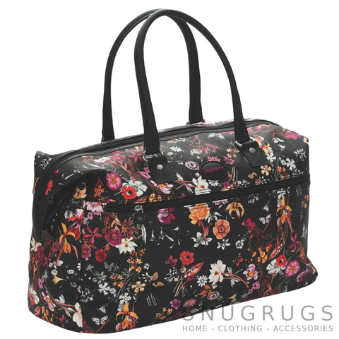 Floral Lightweight Cabin Sized Hand Luggage / Over Night Bag - Black