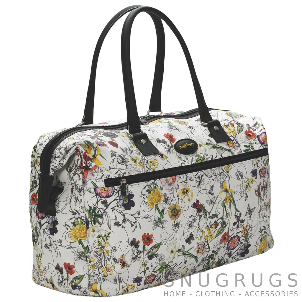 Floral Lightweight Cabin Sized Hand Luggage / Over Night Bag - White