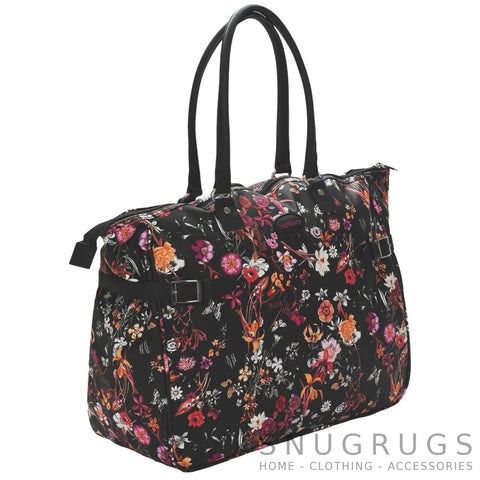 Floral Large Lightweight Cabin Sized Hand Luggage / Over Night Bag - Black