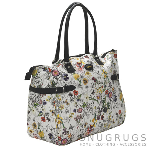Floral Large Lightweight Cabin Sized Hand Luggage / Over Night Bag - White