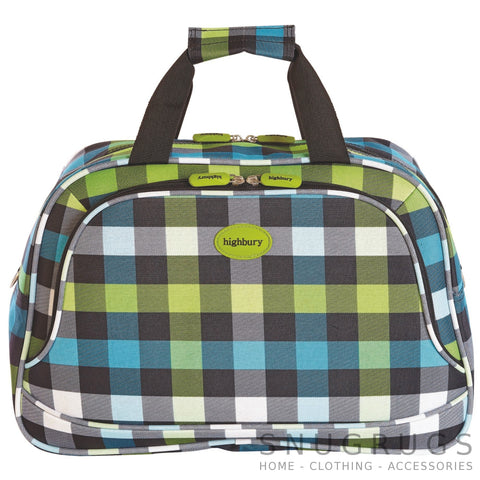 Lightweight Cabin Sized Hand Luggage / Over Night Bag - Green Squares