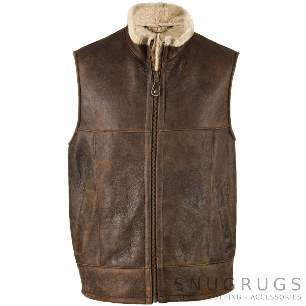 Harvey - Classic Chocolate Brown Gilet with Full Sheepskin Lining