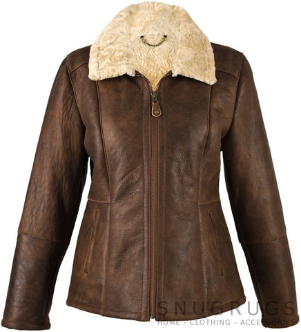 Hilary - Longer Length Sheepskin Jacket with Raglan Sleeve