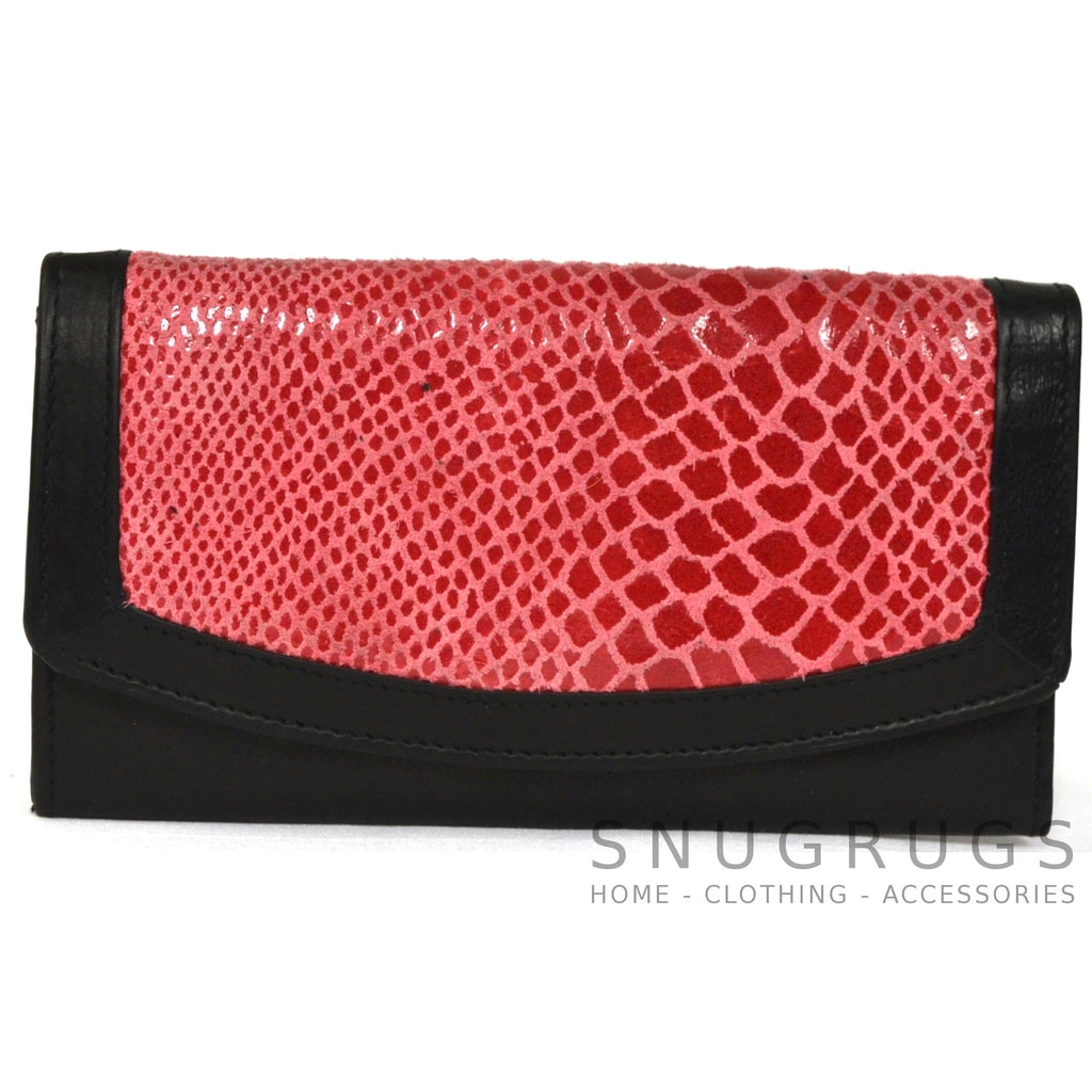 Jane - Snakeskin Effect Leather Purse - Pink