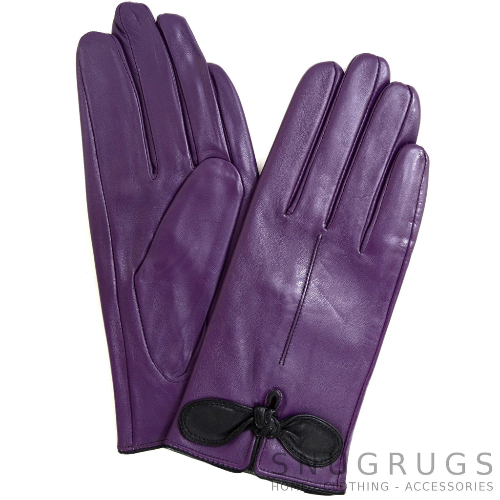 Black gloves with bow - Olwen Leather Gloves With Bow Feature And Matching Trim Colour Purple Black