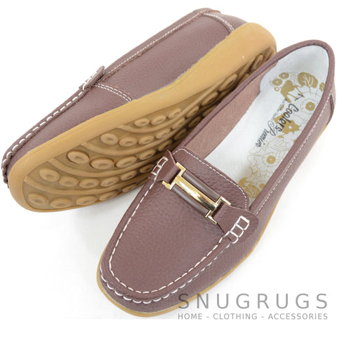 Leather Slip On Flat Shoes - Brown