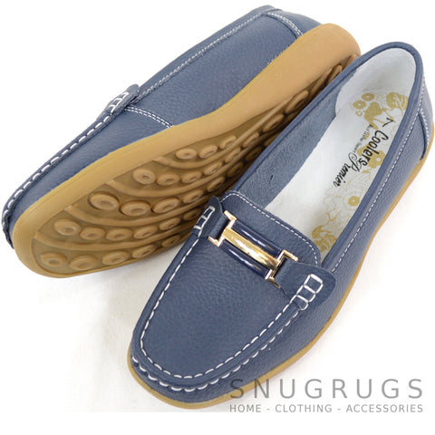 Leather Slip On Flat Shoes - Navy