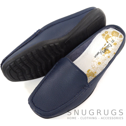Leather Slip On Mules - Navy