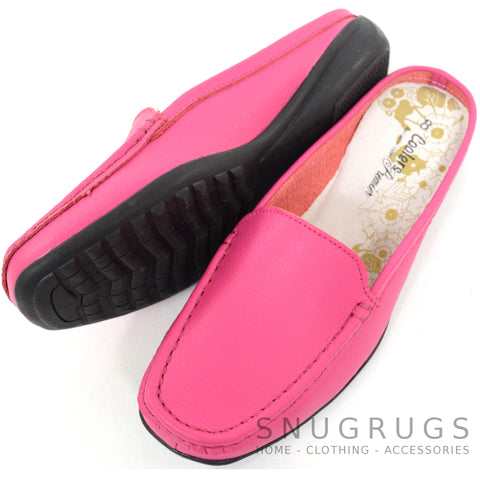 Leather Slip On Mules - Pink