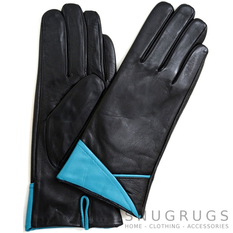 Alis - Leather Glove with Colour Folded Cuff Design - Black/Sky Blue
