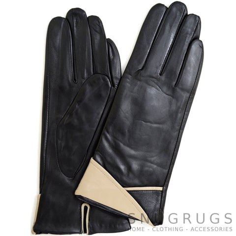 Alis - Leather Glove with Colour Folded Cuff Design - Black/Beige