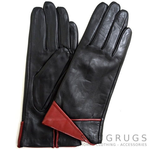 Alis - Leather Glove with Colour Folded Cuff Design - Black/Crimson Red