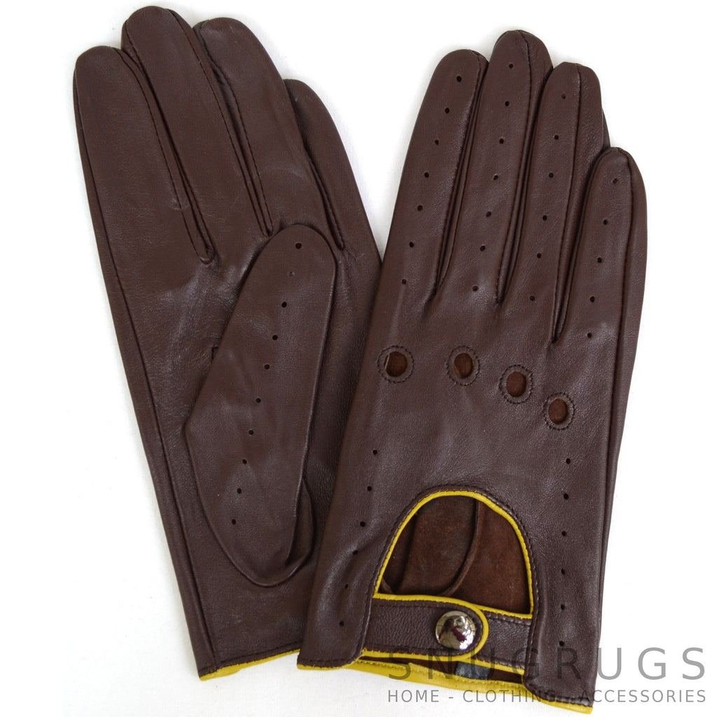 Leather Driving Gloves - Brown with Yellow Trim