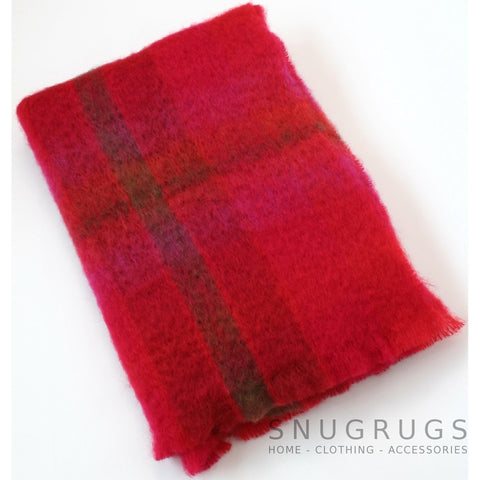 Mohair Blanket - Berry Red