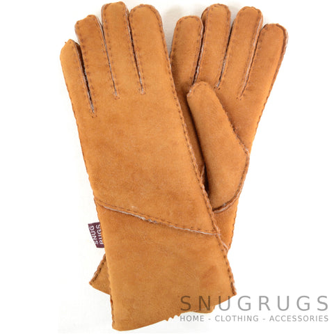 Vicky - Full Sheepskin Glove with Long Fold Back Cuff - Tan
