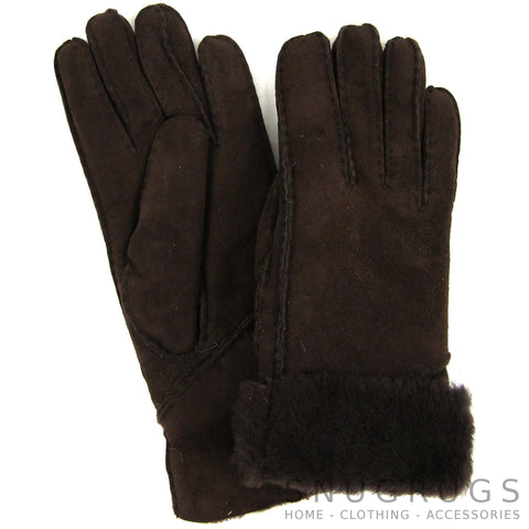 Vicky - Full Sheepskin Glove with Long Fold Back Cuff - Coffee