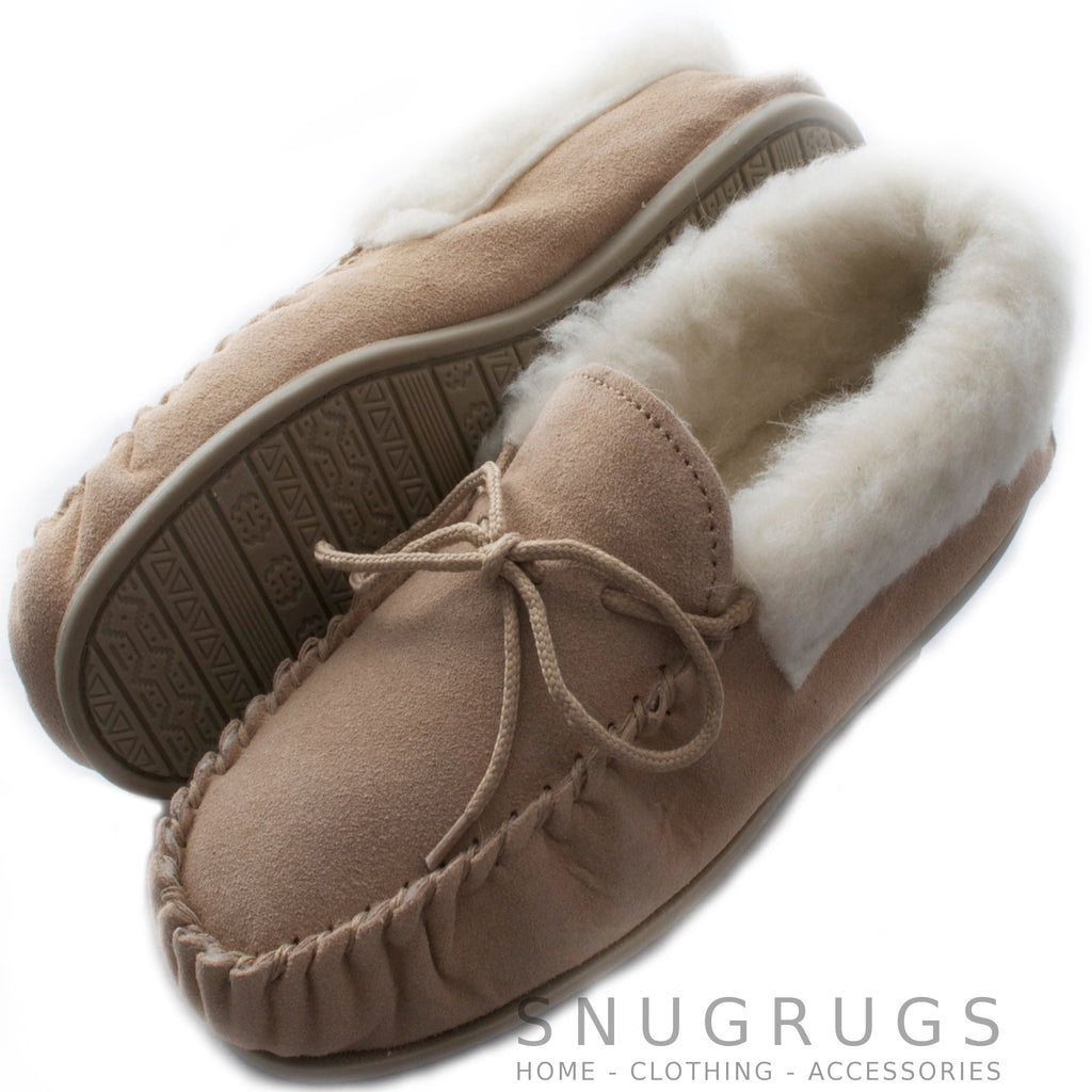 Wool Lined Suede Moccasins with Wool Cuff and Rubber Sole - Camel