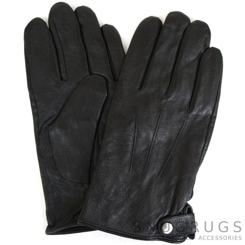 Leather Glove - 3 Pt Stitch with Stud Fastening - Black