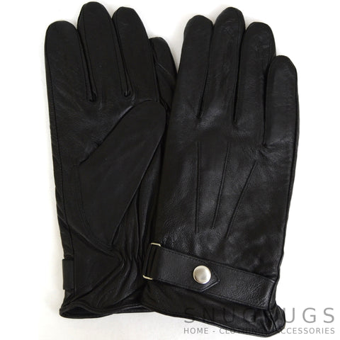 Leather Gloves with Centre Stud - Black
