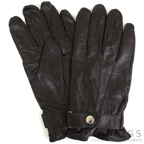 Leather Gloves with Centre Stud - Brown