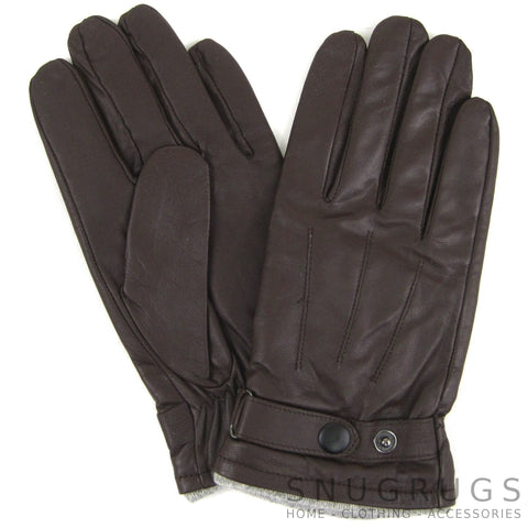 Leather Stud Gloves - Brown