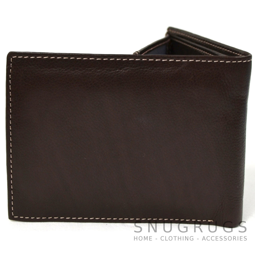 Mark - Genuine Leather Bi-Fold Wallet - Brown