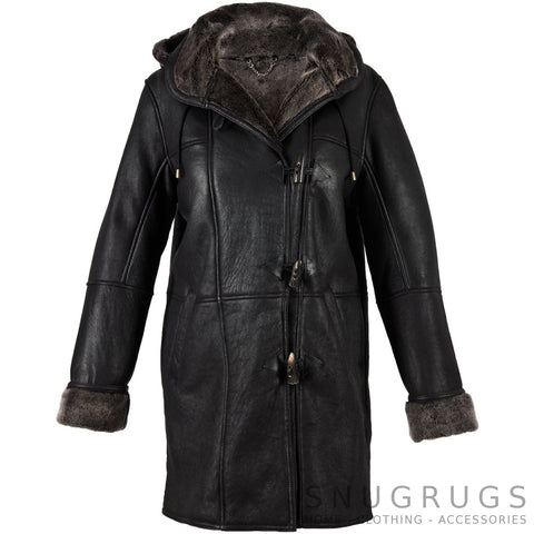 Millie - Sheepskin Duffle Coat with Toggle Detail - Black