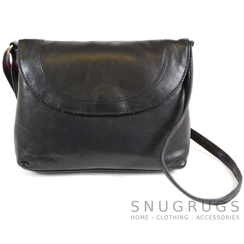 Abigail - Soft Leather Shoulder Bag - Black