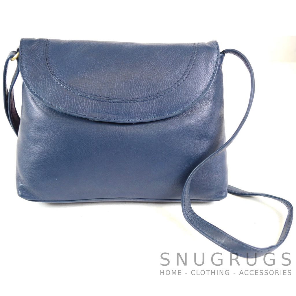Abigail - Soft Leather Shoulder Bag - Blue