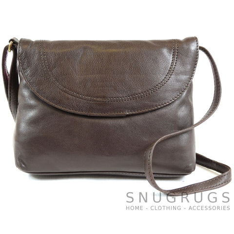 Abigail - Soft Leather Shoulder Bag - Brown