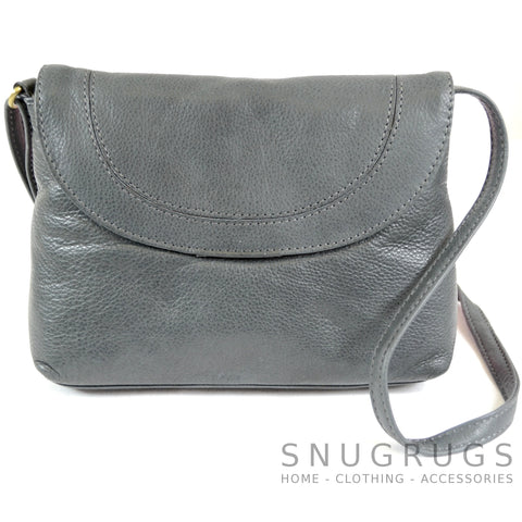 Abigail - Soft Leather Shoulder Bag - Charcoal